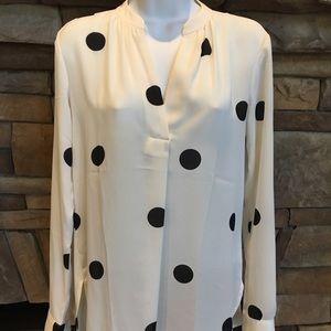 LOFT Black and white polka dot blouse
